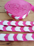 "Pink Chevron Fold Over Elastic - 5/8"" inch in width"