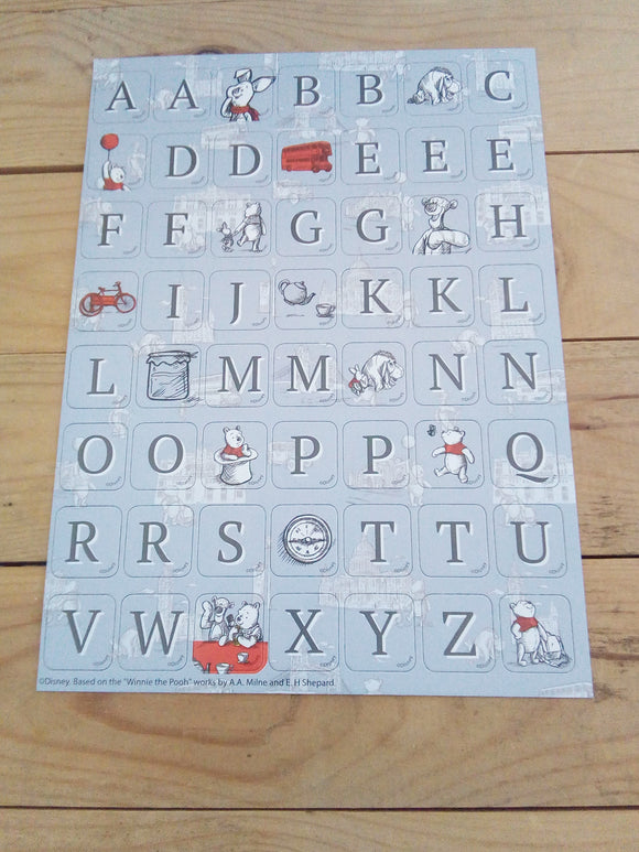 Disney Winnie the Pooh Tiled Alphabet Sticker Pack - Made by you Supplies