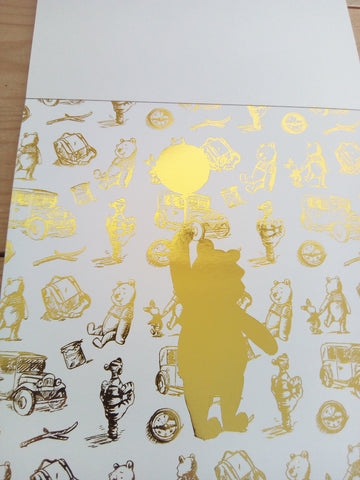 Disney Winnie the Pooh Gold Foil Paper Pack - 15cm x 15cm - Made by you Supplies