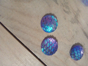Blue AB Resin Mermaid / Fish Scale Rhinestone Round Flat Back - Pack of 10 - Made by you Supplies