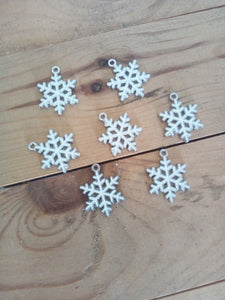 Snowflake Enamel Charm 25 mm x 22 mm - made of zinc alloy - Made by you Supplies