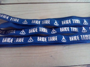 "Metallic Bride Tribe on Dark Blue Fold Over Elastic - 5/8"" inch in width - Made by you Supplies"