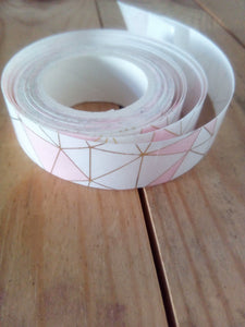 Pink, White and Gold Foil Washi Tape - 5 metres in length - Made by you Supplies