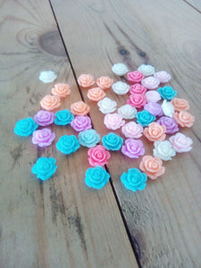 Rose Flower Resin Flat Back Cabochons (Random Colours) - Pack of 10 - Made by you Supplies