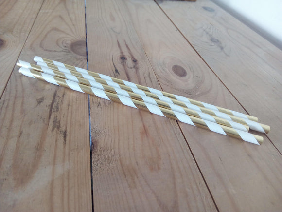 Diagonal Foil Stripe Paper Drinking Straws - Set of 25 - Made by you Supplies