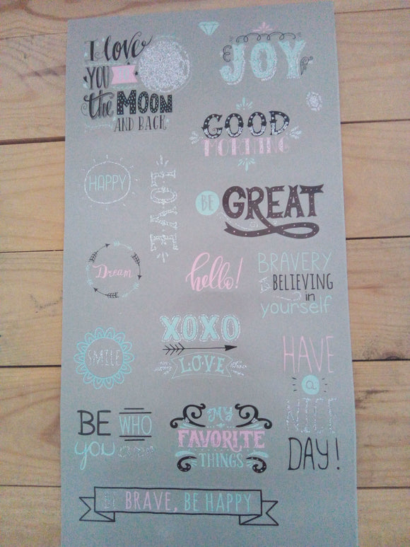 Sentiment Stickers - suitable for planners, journals, notebooks - 2 sheets - Made by you Supplies