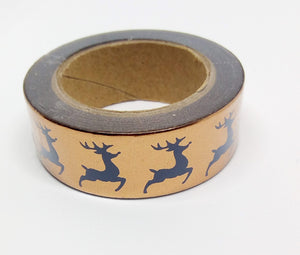 Reindeer Foil Washi Tape - 10 metres in length - Made by you Supplies
