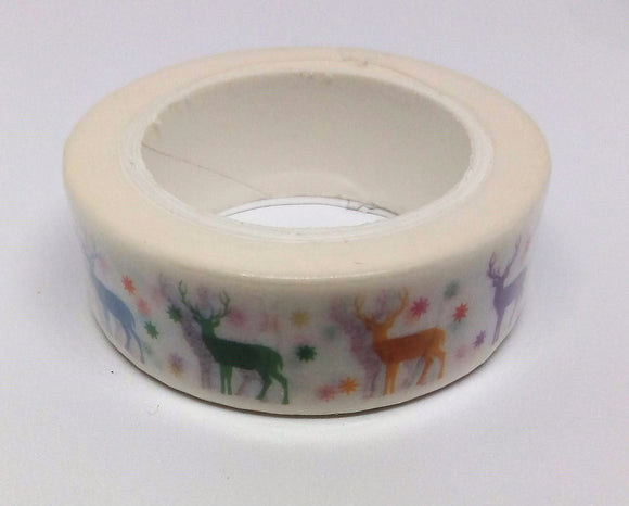 Reindeer Paper Washi Tape - 10 metres in length - Made by you Supplies