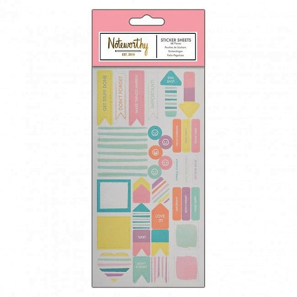 Sticker Sheet (68pcs) - Pastel Hues - Noteworthy - Made by you Supplies