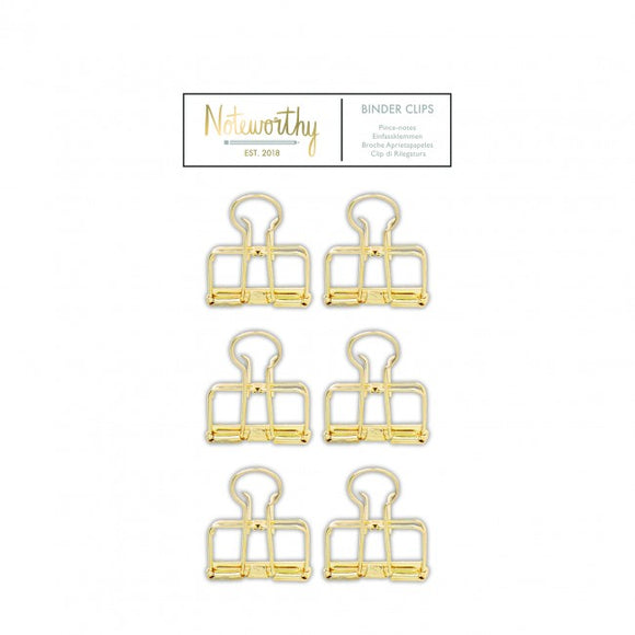 Gold Binder Clips (6pcs) - Metallic Mono - Noteworthy