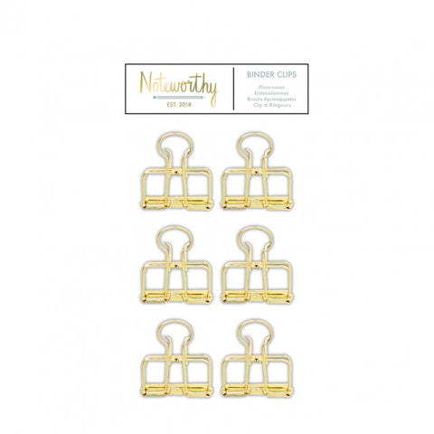 Binder Clips (6pcs) - Metallic Mono - Noteworthy - Made by you Supplies