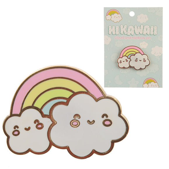 Cute Kawaii Rainbow and Cloud Pin Badge