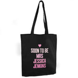 Pink Text Personalised Black Cotton Bag