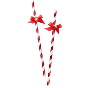 Red and White Foiled Paper Straws with Mini Bows and Bells