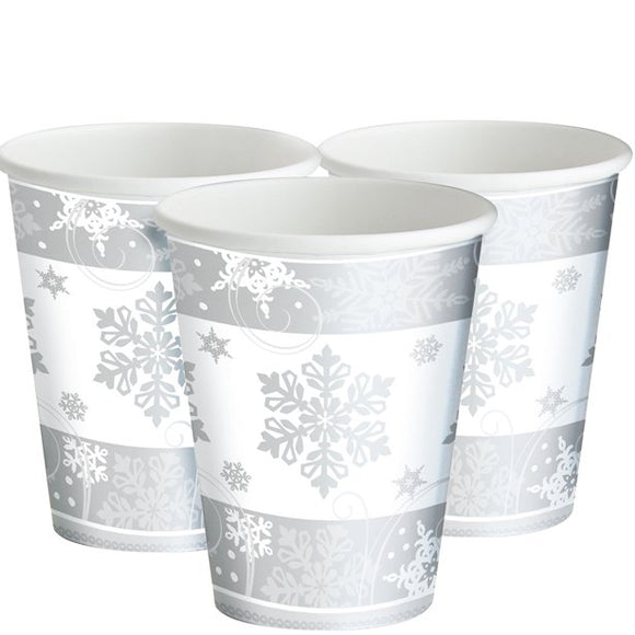 Snowflake Paper Cups - 255ml - Amscan - Made by you Supplies