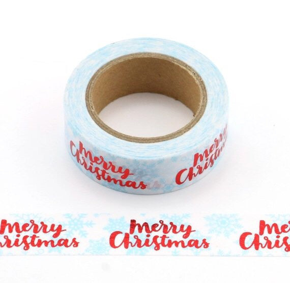 Merry Christmas Red Foiled Washi Tape - Made by you Supplies
