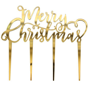 Gold Acrylic Merry Christmas Cake Topper - Ginger Ray