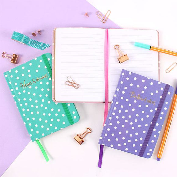 A6 Hardback Polka Dot Notebook - in pink, purple or green