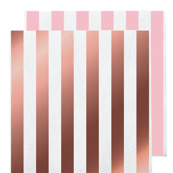 Rose Gold Striped Napkins - Set of 16 - Unique