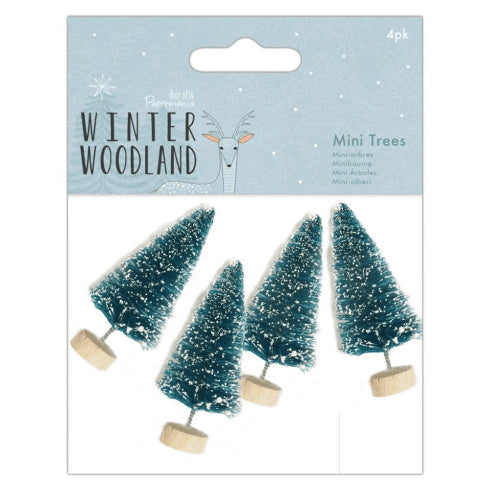 Snow Tipped Mini Craft Trees - Winter Woodland