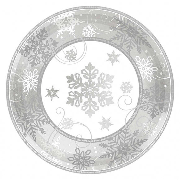 Snowflake Metallic Dessert Paper Plates - 18cm - Amscan - Made by you Supplies