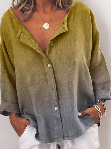 Plus Size V Neck Casual Long Sleeve Tops