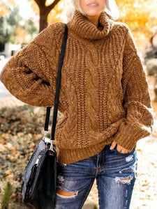 Casual Plus Size Long Sleeve Turtleneck Sweater