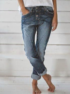 Blue Casual Pockets Denim Pants