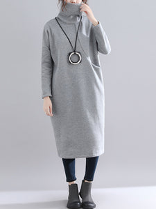 Turtleneck Women Dresses Shift Daily Cotton Solid Dresses