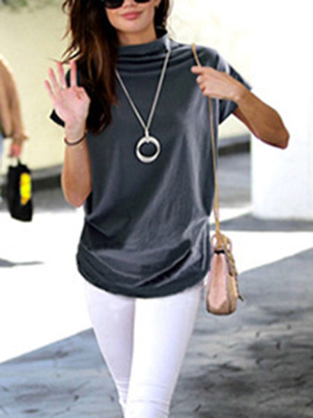 Plus Size Solid Turtleneck Short Sleeve T-Shirts