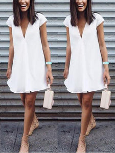 Chiffon Short Sleeve V Neck Casual Dresses