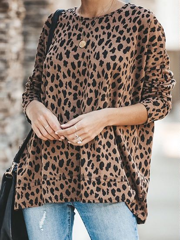Crew Neck Leopard Print Cotton-Blend Shirts & Tops