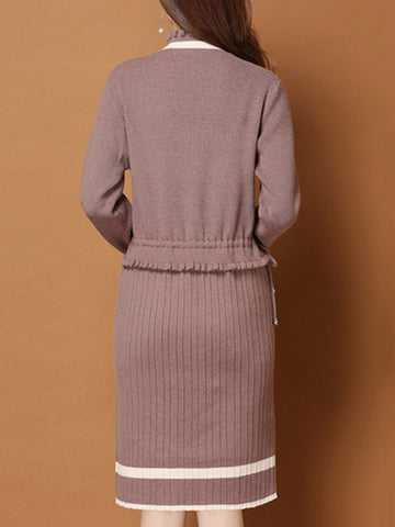 Stand Collar Women Dresses Shift Daily Casual Knitted Paneled Dresses