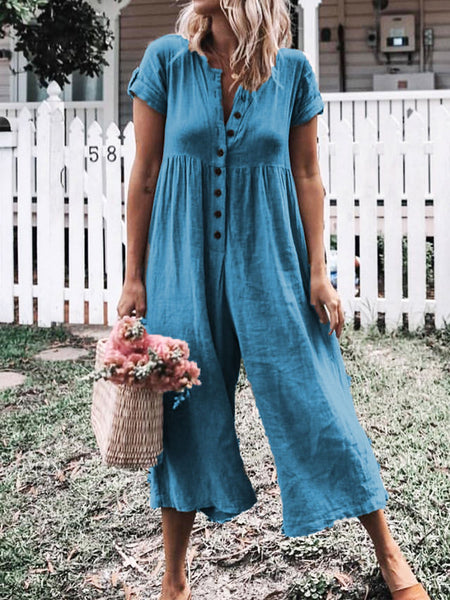 Solid Short Sleeve Casual Romper Jumpsuit