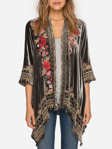 Black 3/4 Sleeve Coral Velvet Floral Shift Outerwear