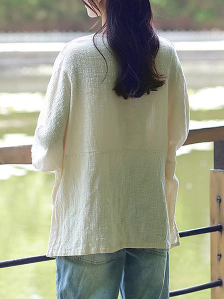 New Women Casual Loose Solid O-neck Shirt Half Sleeve Cotton Linen Top