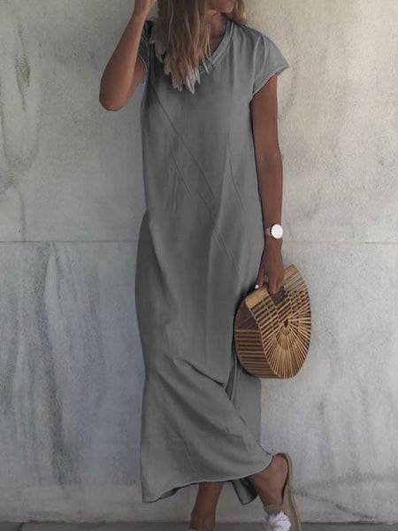 Casual V Neck Short Sleeve Solid Dresses
