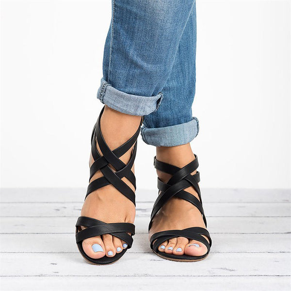 Annychlo Cross Cross Strap Block Heel Sandals