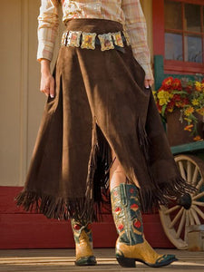 Coffee Solid Boho Faux Suede A-Line Skirts