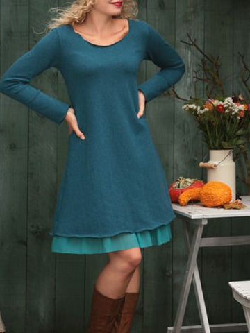 Solid Crew Neck Long Sleeve Dresses