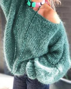 Green Solid Off Shoulder Knitted Casual Sweater