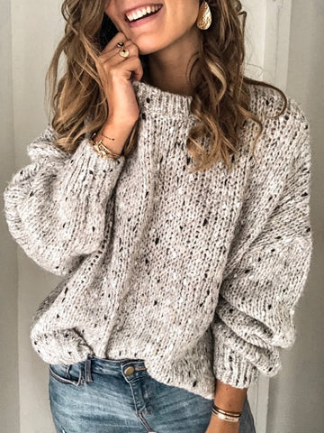 Casual Plain Crew Neck Long Sleeve Sweatshirt