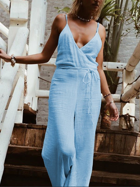 Casual Sleeveless V Neck Plus Size Jumpsuits
