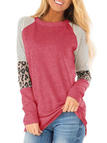 Plus Size Casual Long Sleeve Crew Neck Shirts & Tops