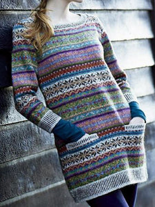 Women Pockets Color-Block Vintage Knitted Tunic Sweaters