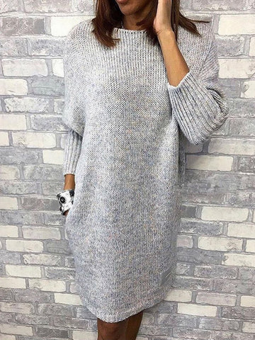 Women Caftan Pockets Shift Casual Knitted Dresses