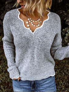 Plus Size Solid Loose Fit Women Pullover V neck Sweaters