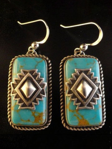 New Vintage Tibetan Silver Turquoise Earrings