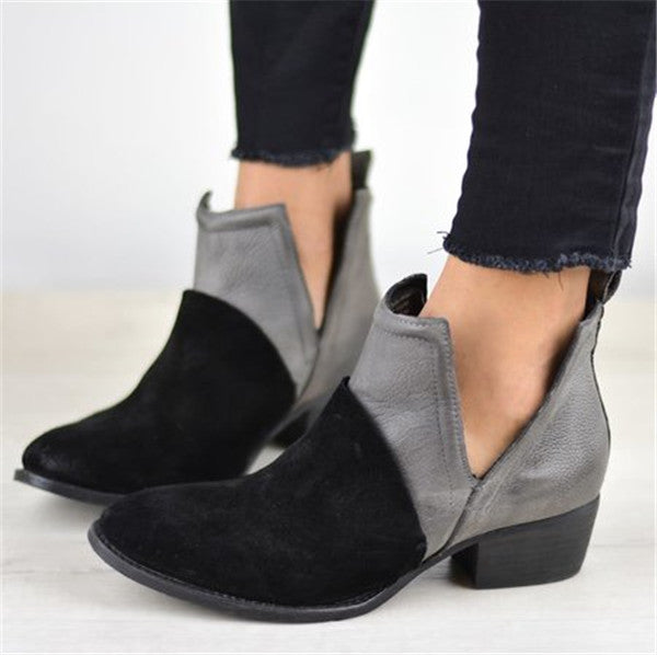 Women Comfy Slip-on Cut Out Ankle Booties