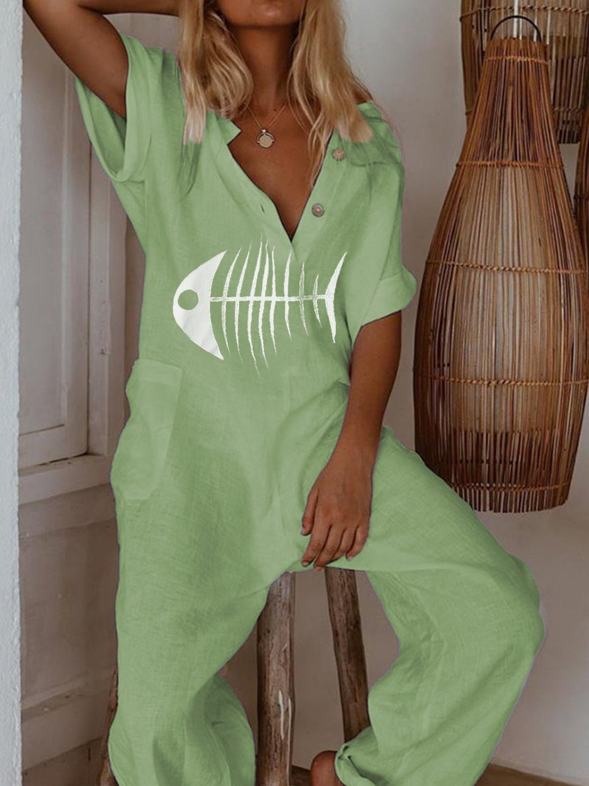 Plus Size Casual Short Sleeve Fish Bone Pockets Jumpsuits